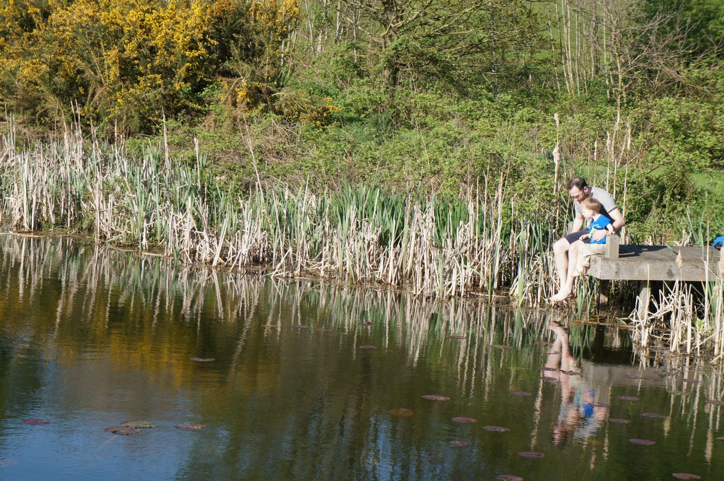 Ed and Nathan by the lake at Gladwins